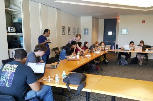 Analyzing data in MATLAB, with Prof. Scott Holley and a postdoc from the lab, to then, as a group, make sense of an experiment.