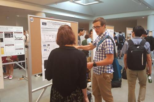 BBSB/PEB student presenting an Integrated Workshop poster on tracking single molecules in an effort to better understand turnover in endocytosis, at the 2016 iPoLS meeting.