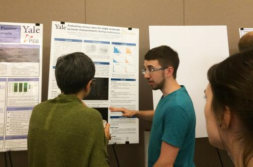 2015 meeting: First-year physics student presenting a poster on an Integrated Workshop module conducted in the Berro lab.